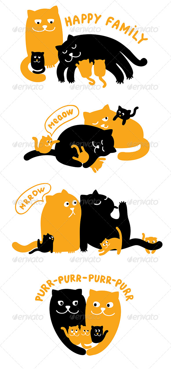 Illustrations with Family of Cats - Animals Characters