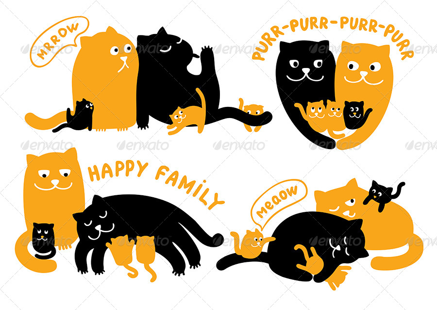 Illustrations with Family of Cats