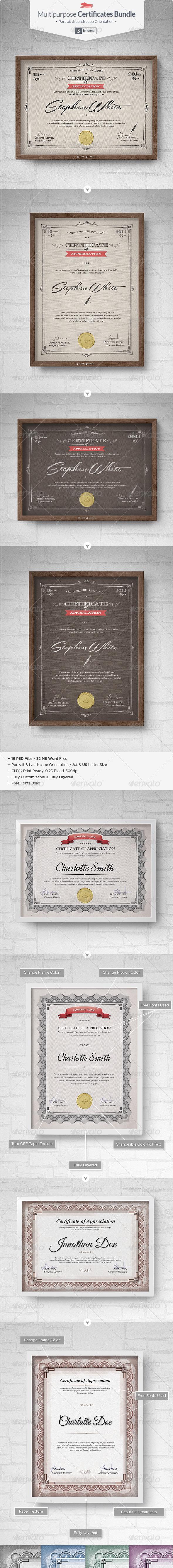 Multipurpose Certificates Bundle - Certificates Stationery