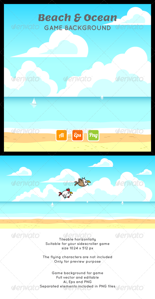 Beach Ocean Game Background - Backgrounds Game Assets