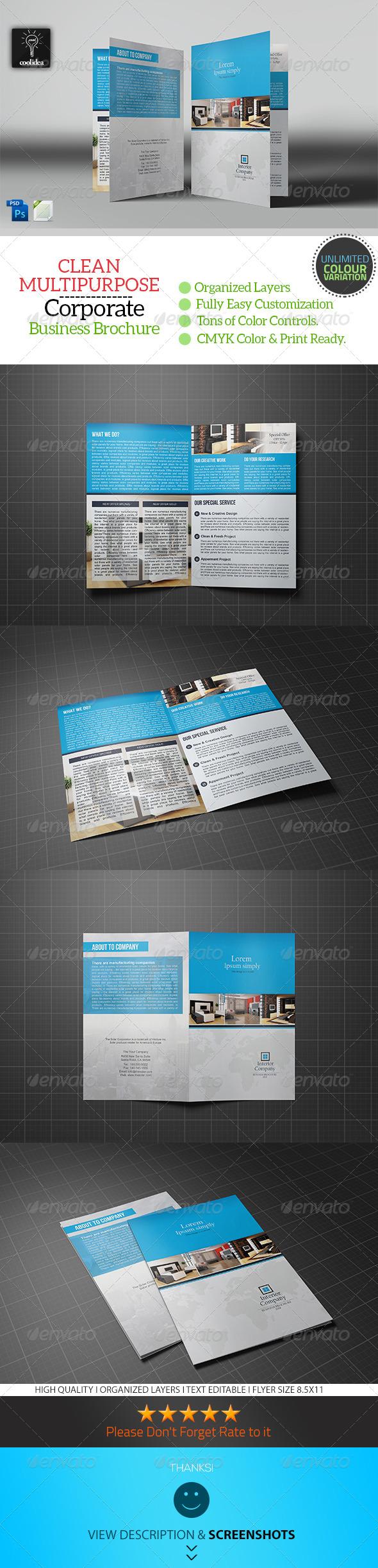 Interior Bifold Brochure Template - Corporate Brochures