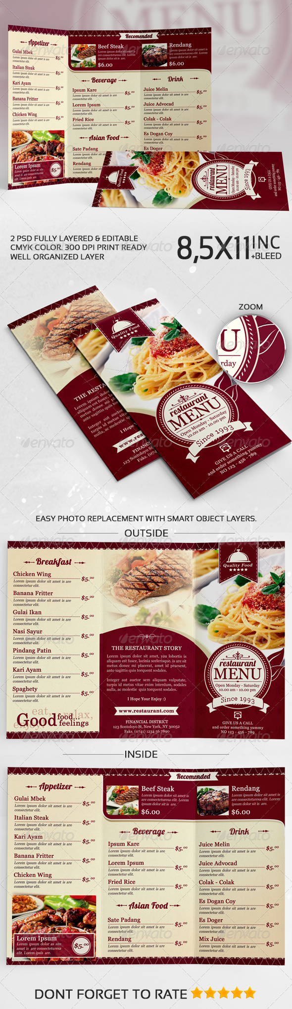 Elegant TriFold Restaurant Menu Template - Food Menus Print Templates