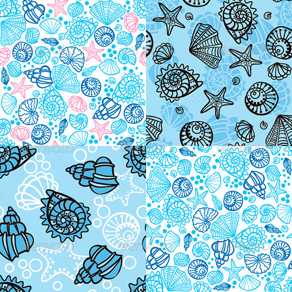 Set of four seamless patterns with seashells - Patterns Decorative
