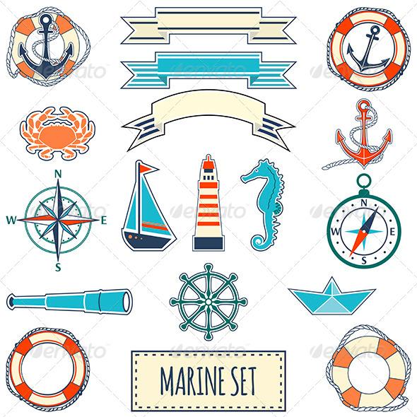 Set of Flat Marine Elements - Objects Vectors