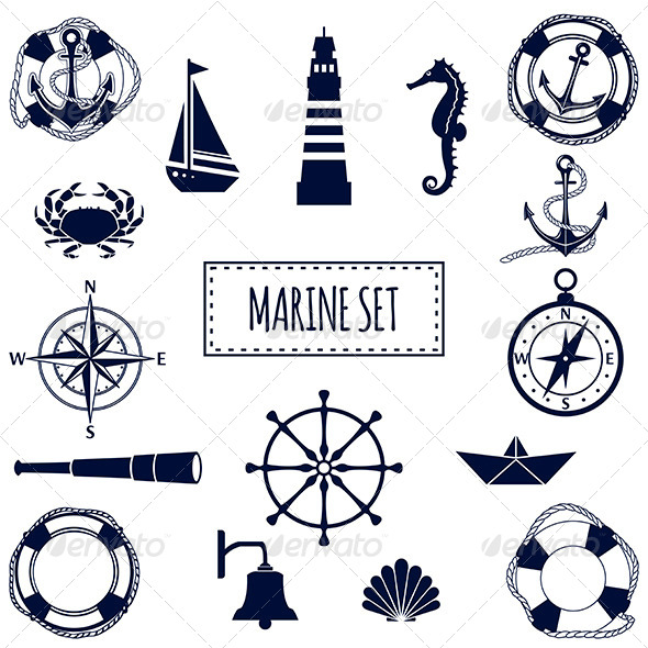 Set of Flat Marine Icons - Objects Vectors