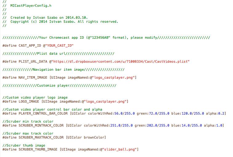 Chromecast Player - Config file