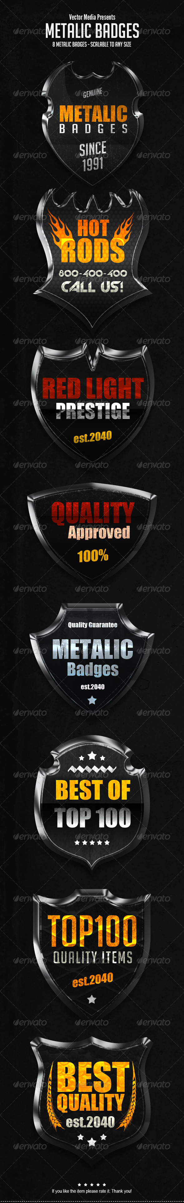 Metalic Badges - Badges & Stickers Web Elements