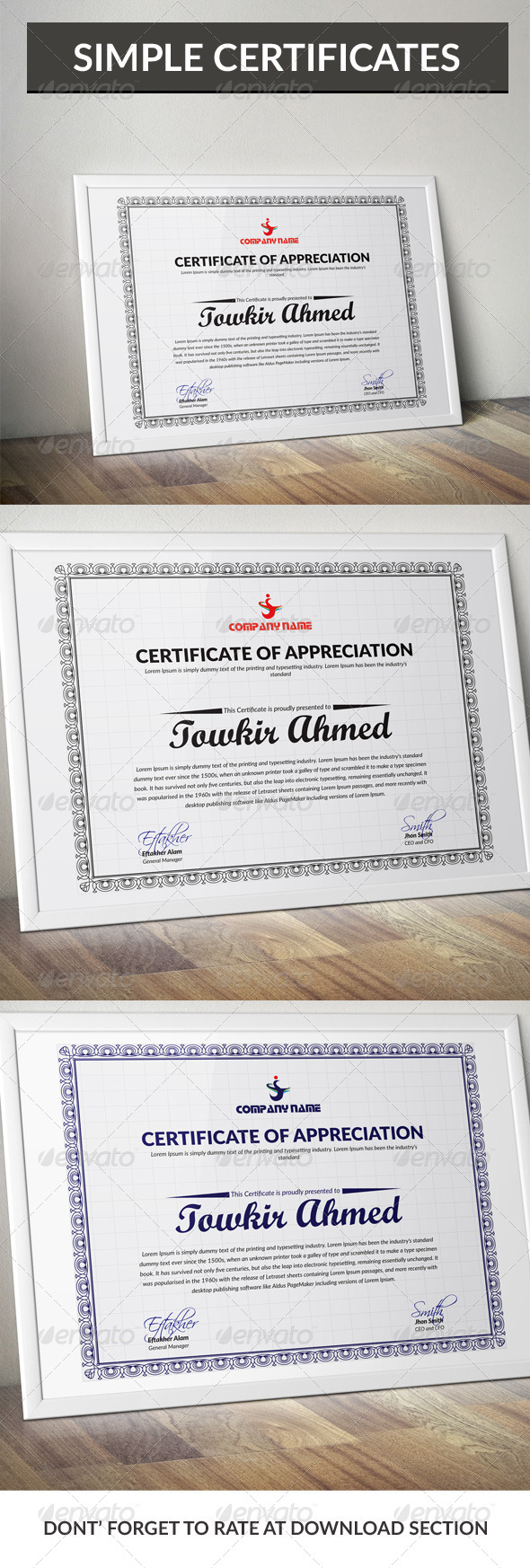 Simple Certificate Design - Certificates Stationery