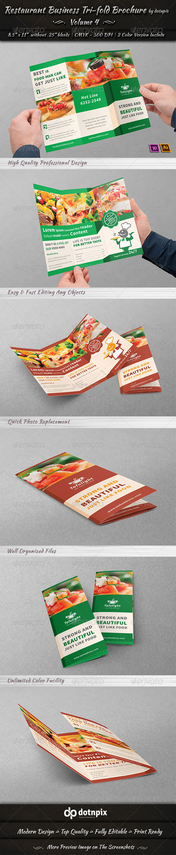 Restaurant Business Tri-Fold Brochure | Volume 4 - Corporate Brochures
