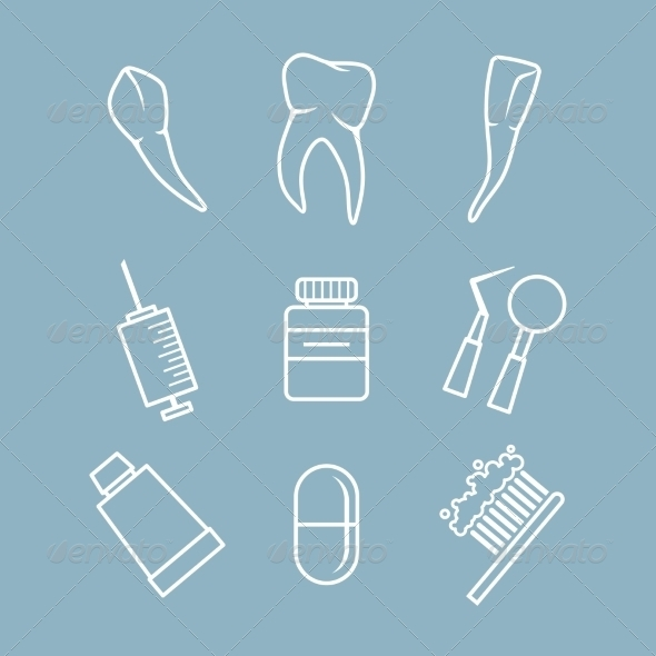Dental icons set - Health/Medicine Conceptual