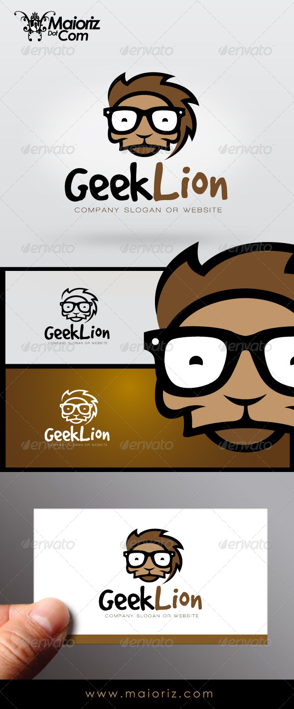Geek Lion Logo - Animals Logo Templates