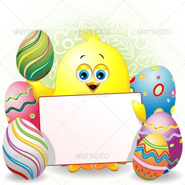 Easter Chick Cartoon with White Panel - Seasons/Holidays Conceptual