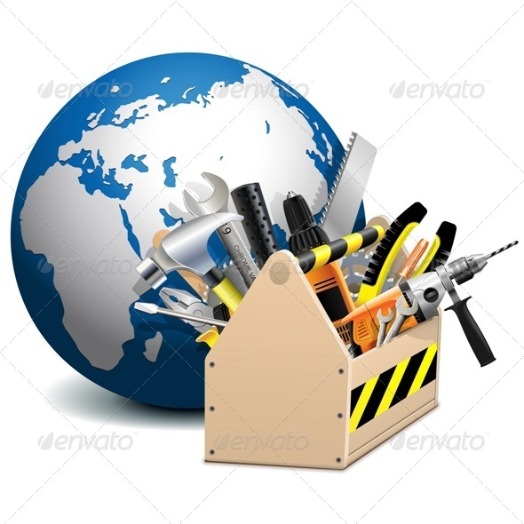 Vector Toolbox with Globe - Industries Business