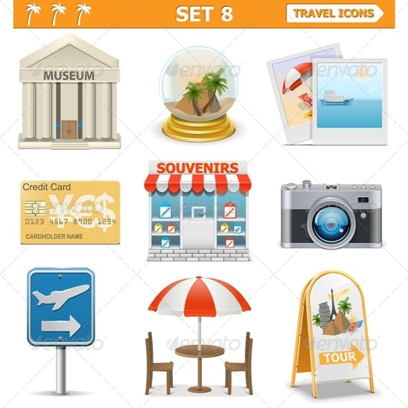 Vector Travel Icons Set 8 - Travel Conceptual