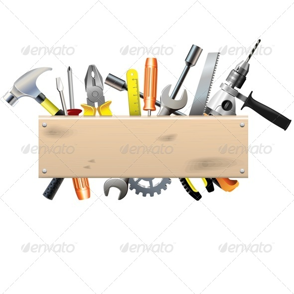 Vector Board with Tools - Industries Business