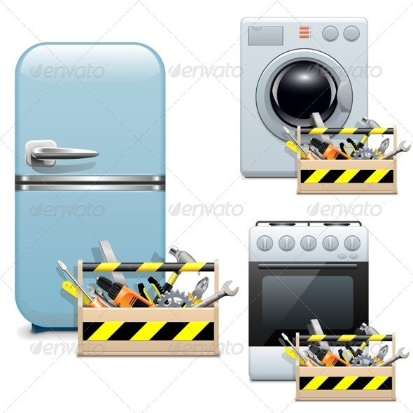 Vector Household Appliance Repair Icons - Industries Business