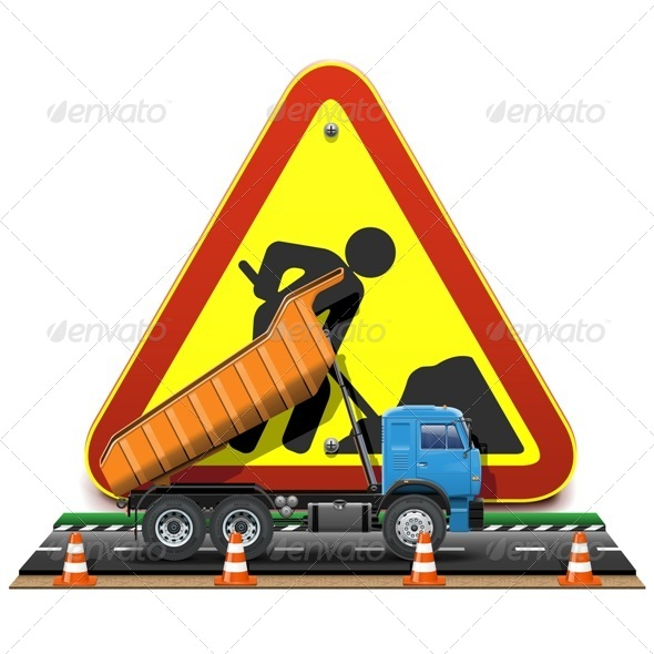 Vector Road Construction Concept with Truck - Industries Business