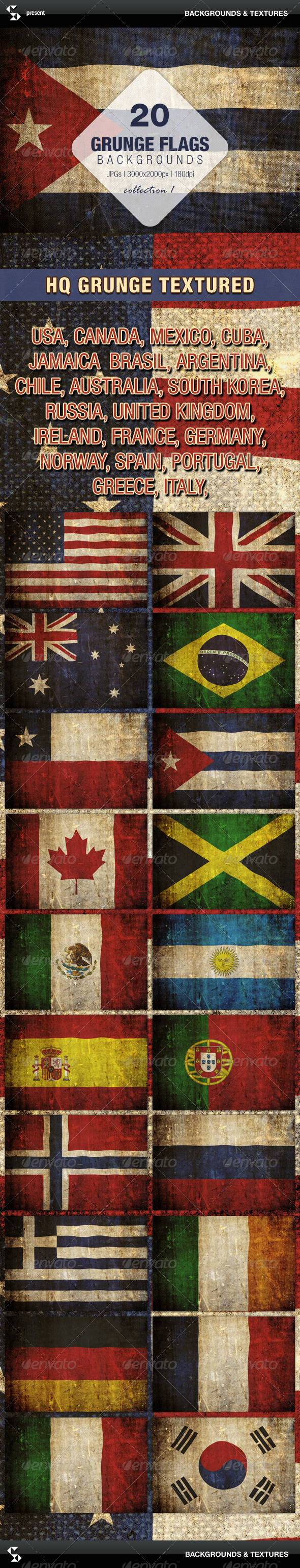 Grunge Flags - 20 countries around the world  - Urban Backgrounds