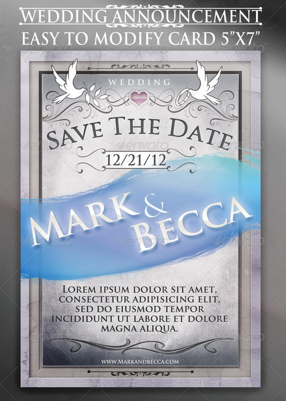 Wedding Announcement Card Template - Weddings Cards & Invites
