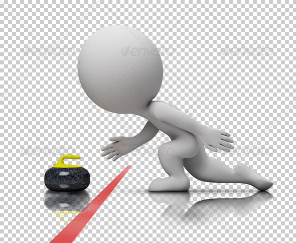 3d small people - curling - Characters 3D Renders