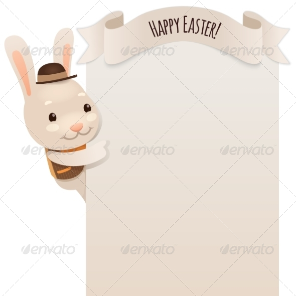 Happy Easter Bunny Looking at Blank Poster - Miscellaneous Seasons/Holidays
