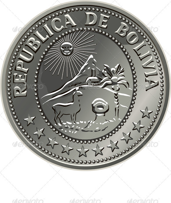 Bolivian money silver coin centavo fifty - Man-made Objects Objects