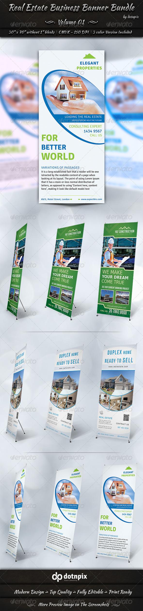 Real Estate Business Banner Bundle   Volume 1 - Signage Print Templates