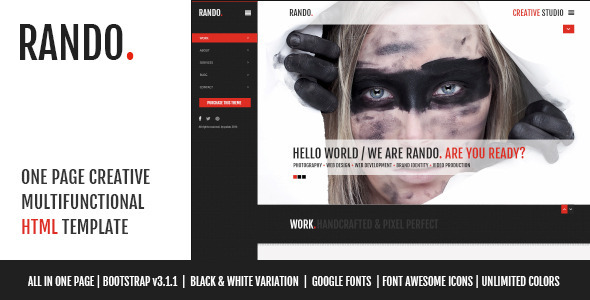 Rando - One Page Multifunctional HTML Template - Photography Creative