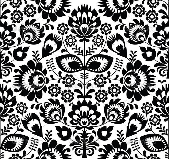 Polish folk seamless pattern in black and white - Patterns Decorative