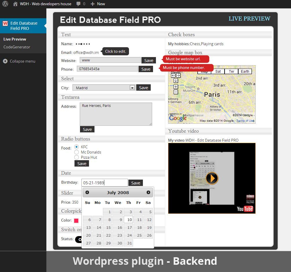 Edit Database Field PRO (Wordpress Library) by ...