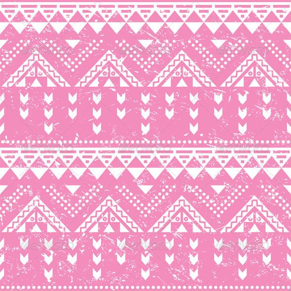 Tribal pattern, pink aztec print - old grunge styl - Patterns Decorative