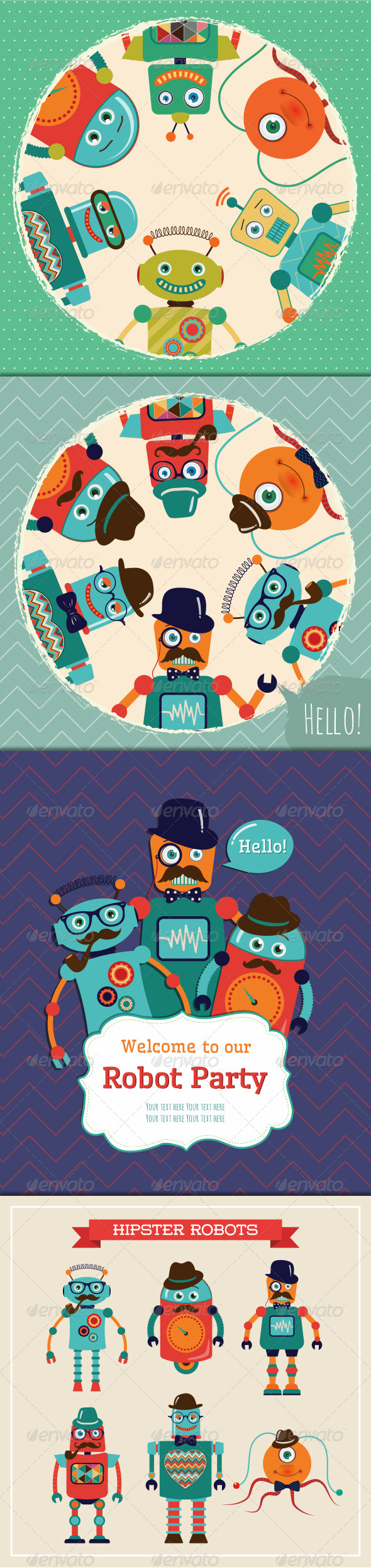 Vintage Banners and Cards with Hipster Robots - Characters Vectors