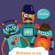 Vintage Banners and Cards with Hipster Robots - GraphicRiver Item for Sale