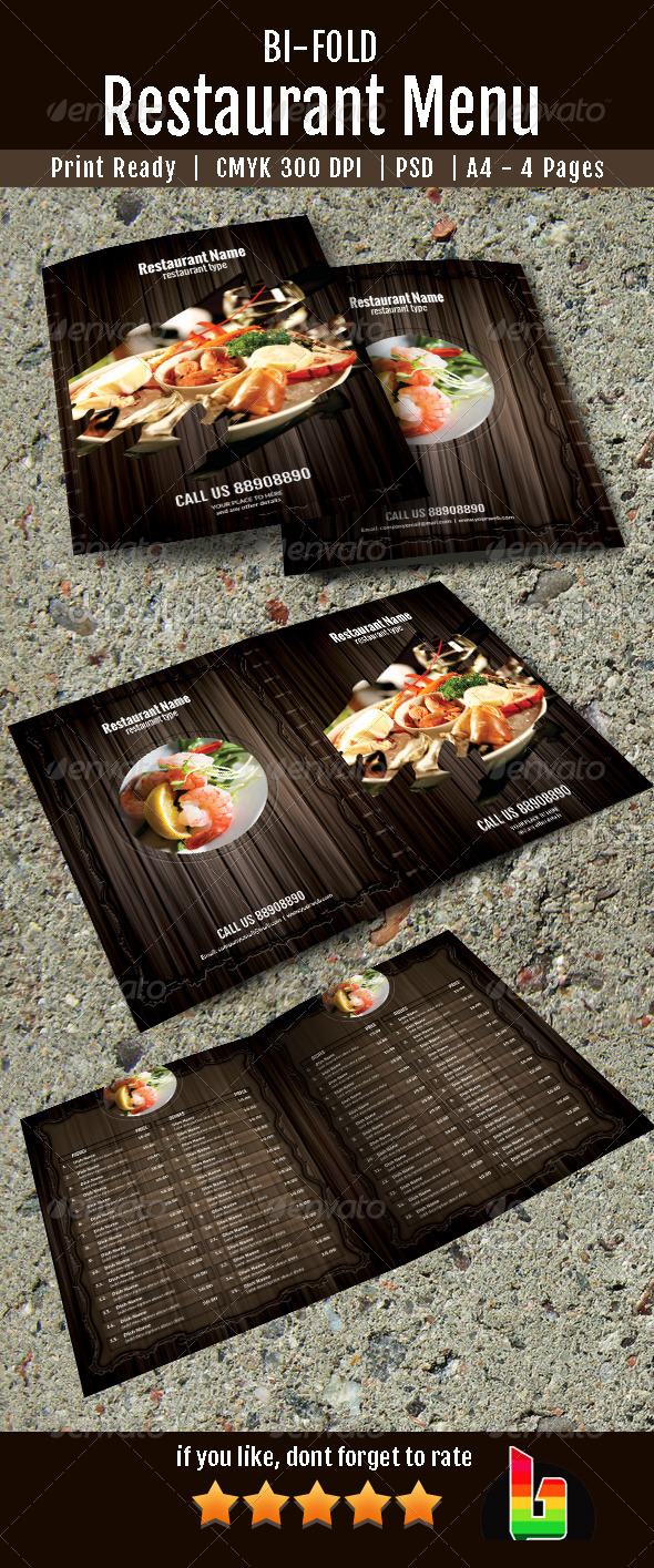 Bifold Restaurant Menu - Food Menus Print Templates
