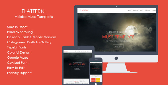 Flattern - One Page Flat Muse Template - Corporate Muse Templates