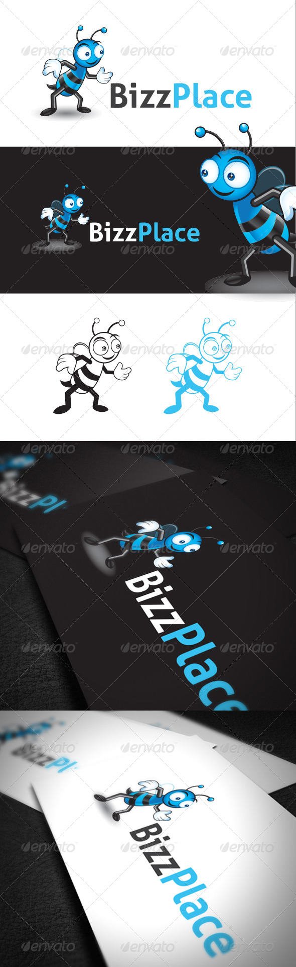 Character Design Bee in Vector Format - Animals Logo Templates
