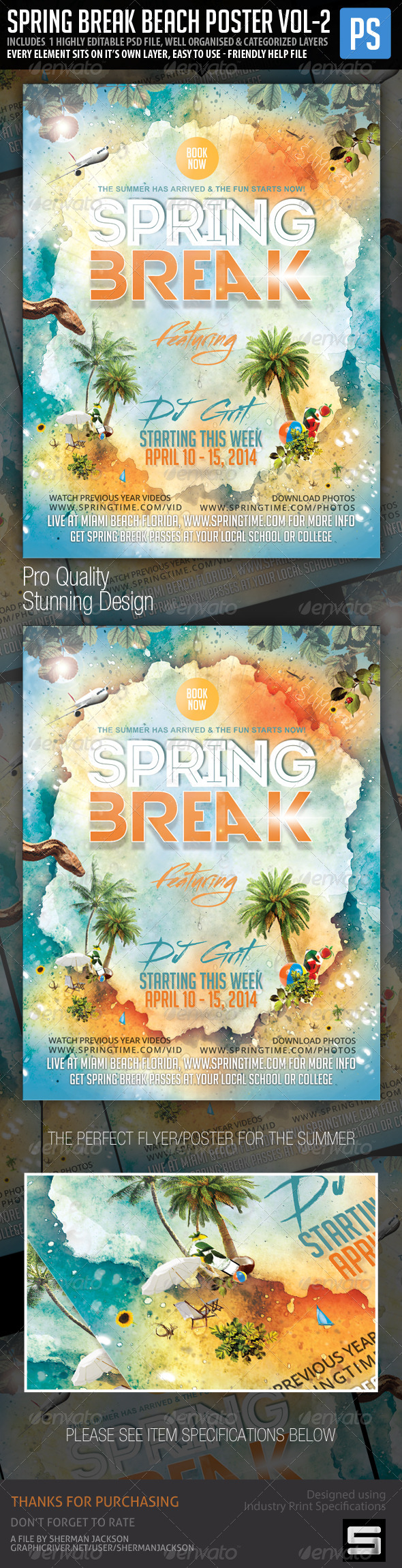 Spring Break Beach Party Vol.2 Poster/Flyer - Events Flyers