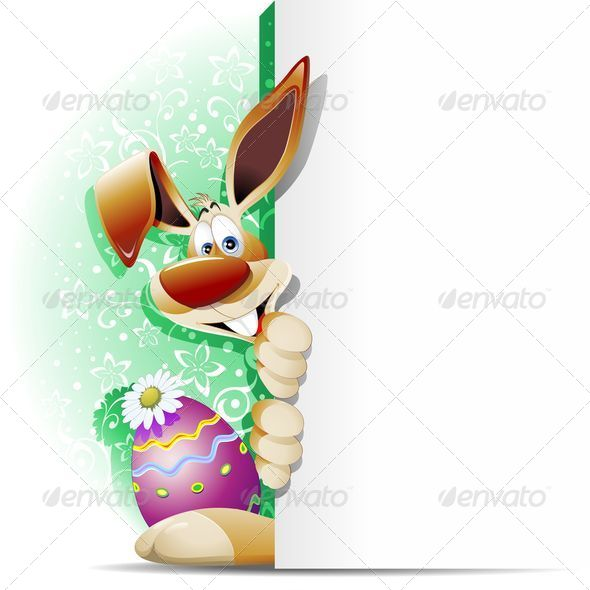 Easter Bunny Cartoon with White Panel - Seasons/Holidays Conceptual