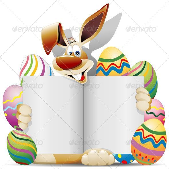 Easter Bunny Cartoon with Greeting Card and Eggs - Seasons/Holidays Conceptual