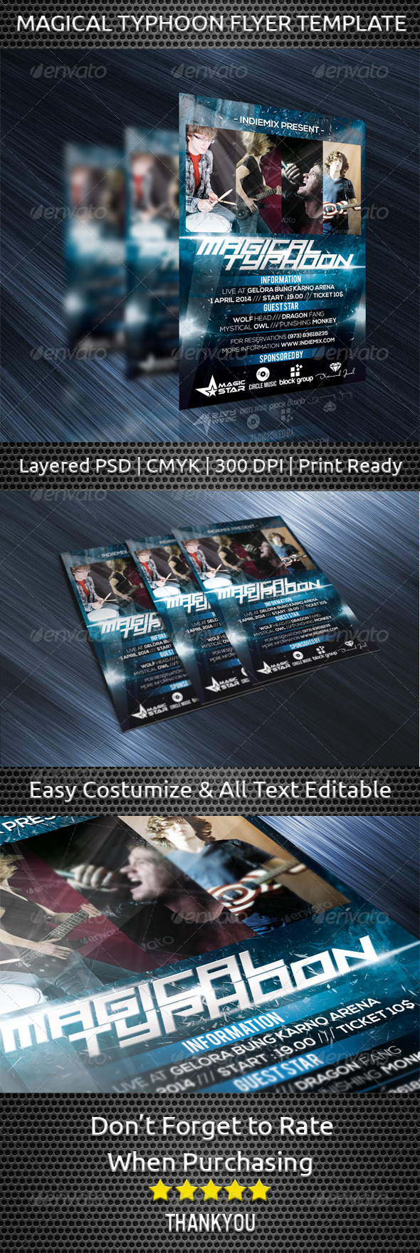 Magical Typhoon Flyer Template - Concerts Events
