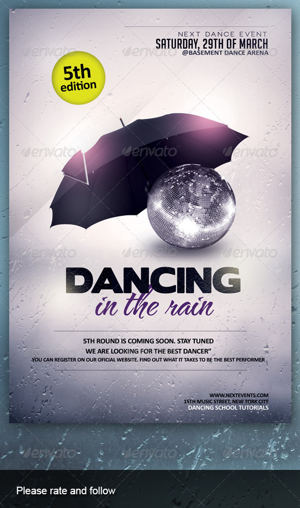 Dancing in the Rain - Events Flyers