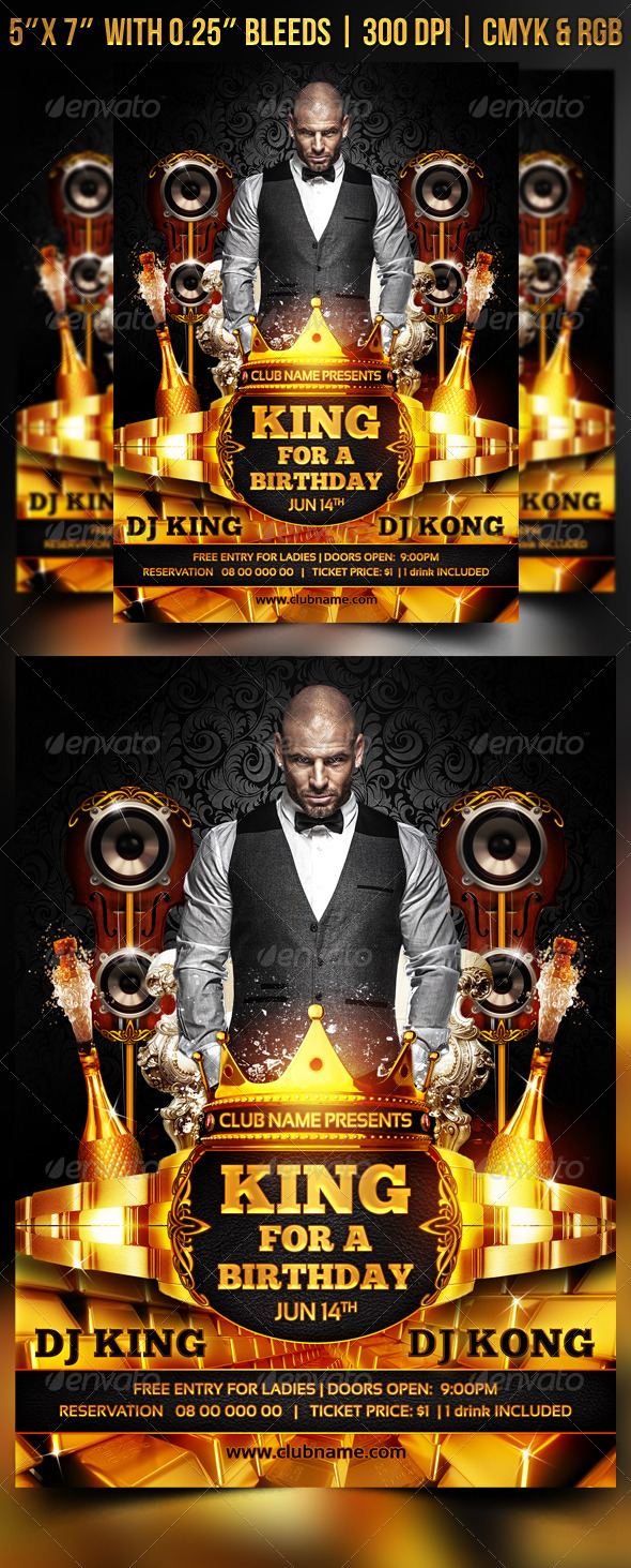 King for a Birthday Flyer - Events Flyers