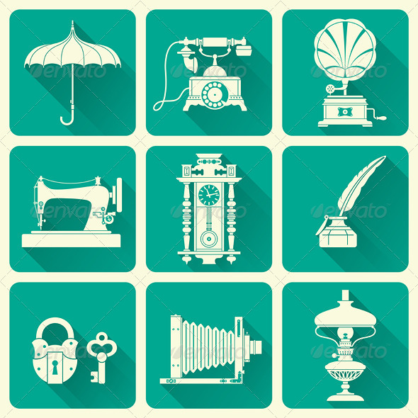 Set Of  Vintage Objects Icons - Man-made objects Objects