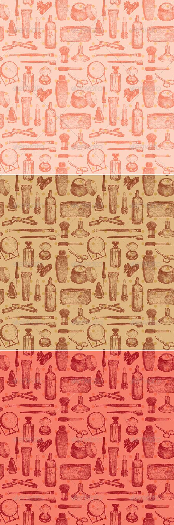 Cosmetics and Beauty Seamless Pattern - Patterns Decorative