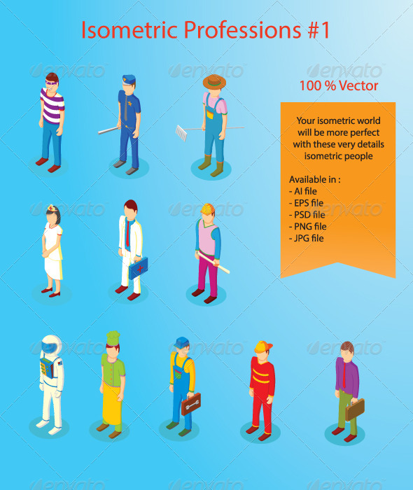 Isometric Professions Part One - People Characters