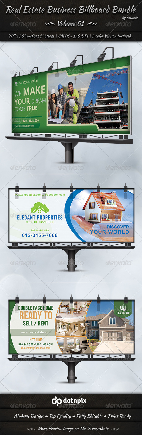 Real Estate Business Billboard Bundle | Volume 1 - Signage Print Templates