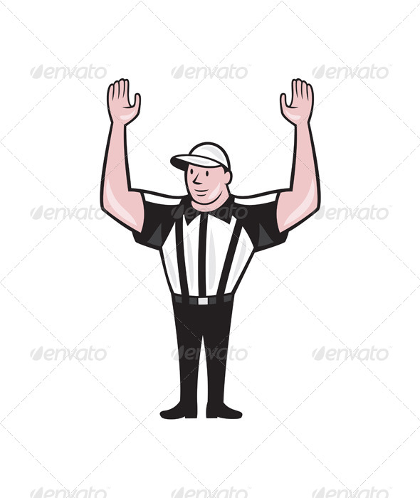 American Football Referee Touchdown Cartoon - Sports/Activity Conceptual