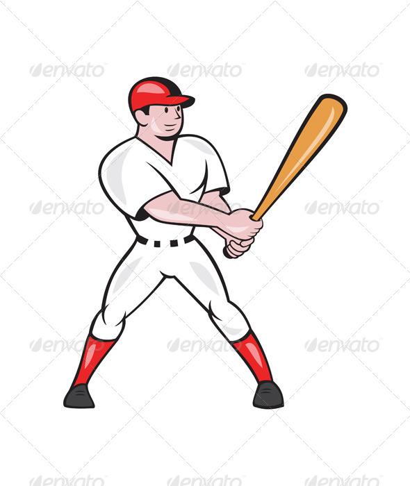 Baseball Hitter Batting Isolated Cartoon - Sports/Activity Conceptual