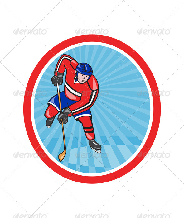 Ice Hockey Player Front with Stick Retro - Sports/Activity Conceptual