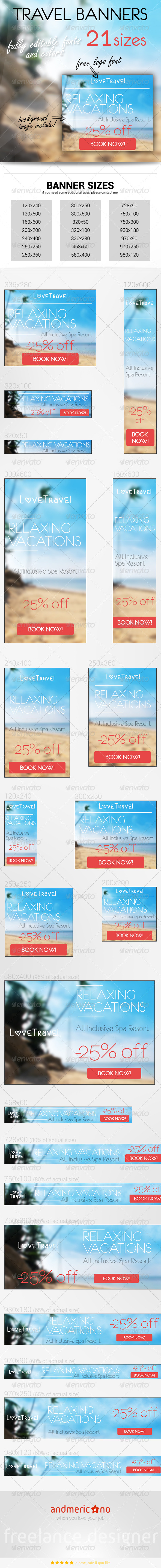 Travel & Holidays 2 - Banners & Ads Web Elements
